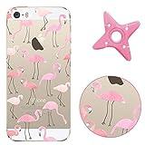MAOOY iPhone 5/5s/SE Hülle, iPhone 5s Handytasche Ultradünn Crystal Gel Cover Transparent Malerei Muster TPU Schale Etui für iPhone SE (4.0 Zoll) - Flamingo