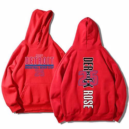# 25 Derrick Rose Pistons Basketball Langarmtrikot Trainingsanzug Herren Jungen Casual Brief Drucken Sportswear Top Rot S-4XLBetreten Sie den Laden mehr-red-L