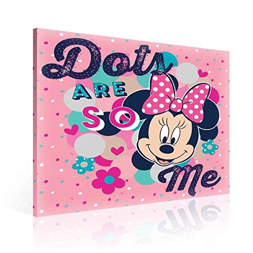 (TapetoKids Leinwandbild Minnie Maus DOTS ARE SO ME - XL - 80 x 80 cm - Komplettpaket! - fertig gerahmt und inklusive Aufhängung - hochwertige 230g/m² Leinwand auf Keilrahmen - kinderleichte Anbringung)