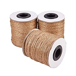 PandaHall Elite 3 rolls 100m/roll 1mm Hemp Cord Twine String, 2 Ply Hemp Rope for Jewelry Making Packing, BurlyWood