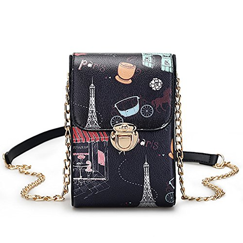 Vandot Damen Mädchen Kinder Universal PU Leder Kleine Umhängetasche Handy Tasche Geldbörse Muster Multifunktionale Handytasche Wallet Handtasche Crossbody Geldbeutel für Samsung Galaxy S6 S7 S8 Edge Plus A3 J7 A5 J3 J5 (2016/2017) S5 Mini/ iPhone X 10 8 7 6 Plus 5S/ Huawei P9 P10 P8 Lite 2017 Honor / Wiko Jerry Robby View Prime U Feel Lenny 2 3 4 /Lumia Sony ZTE HTC LG etc.- Schwarz Muster (Cross Body Edge)
