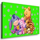 Winnie the Pooh Kinderzimmer Leinwandbild - 100x70cm k. Poster ! Bild fertig auf Keilrahmen ! Pop Art Gemälde Kunstdrucke, Wandbilder, Bilder zur Dekoration - Deko / Top 100 ! Bilder für Kinderzimmer - Babyzimmer