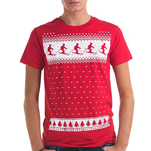 Leuchtet im Dunkeln Ski-Design T-shirt- Männer- rot Rot - Christmas Red