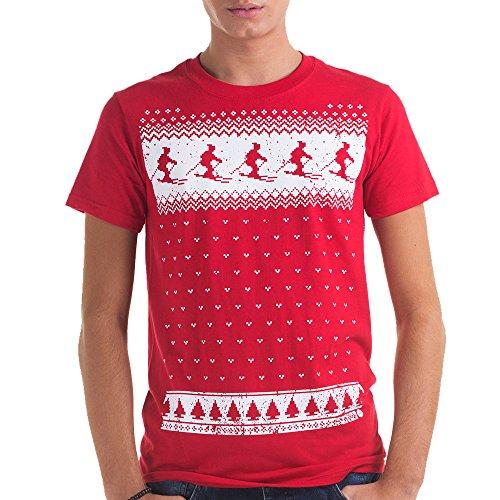 Leuchtet im Dunkeln Ski-Design T-shirt- Männer- rot Rot