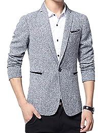 BOLAWOO Giacca da Uomo in Fit Giacche Giacca Slim Cotone da Uomo Mode di  Marca Manica Lunga con Risvolto A Maniche Lunghe Giacca… cde71a19b06