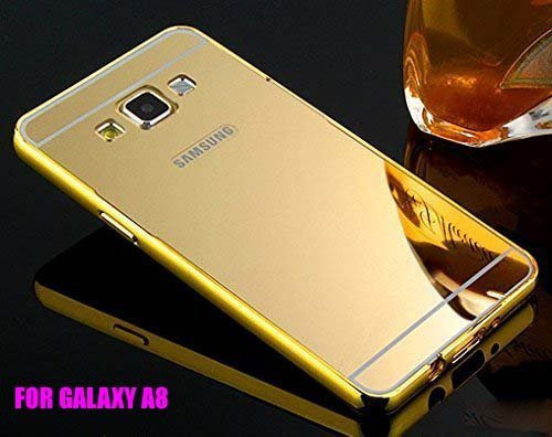 KPH Luxury Mirror Effect Acrylic back + Metal Bumper Case Cover for Samsung Galaxy Grand 2 SM-G7106 Gold