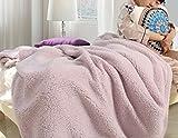 Yiyida Kuscheldecke 200x230 Wohndecke, kuschelig flauschig warme Winter Tagesdecke weiche mollige Fell Optik Fleece Wendedecke Sofadecke Woll Zotteldecke ,Pink