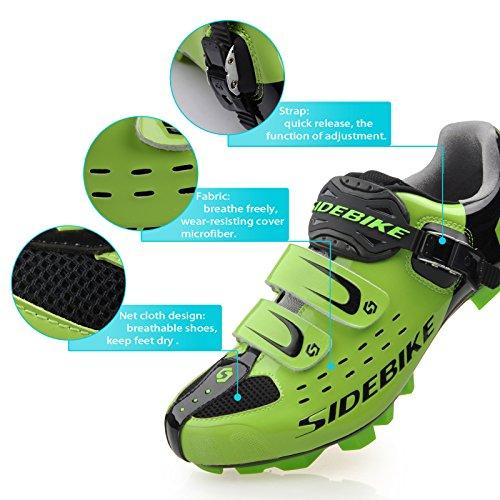Unisexe respirant chaussures de vélo professionnels pour route et VTT SD-001 Noir / Vert pour le VTT