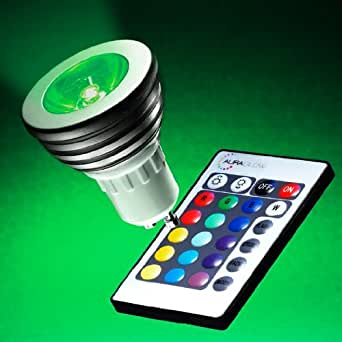 auraglow gu10 remote controlled colour changing led light bulb lighting. Black Bedroom Furniture Sets. Home Design Ideas