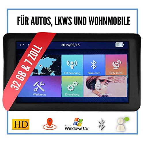 Elebest City 70A Navigationsgerät 7 Zoll Display (17,8cm) Touchscreen, 32GB Speicher für PKW,LKW,Wohnmobil,GPS,Navi,Freisprecheinrichtung,Kostenlose Kartenupdate,Kartenmaterial und Radarwarner 2019
