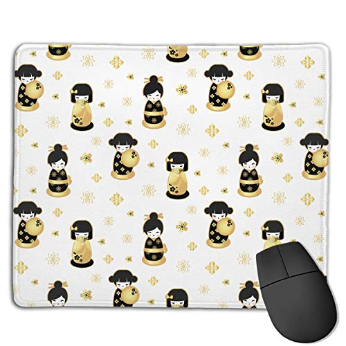 Mouse Pad Japanese Geisha Doll Graphics Rectangle Rubber Mousepad 8.66 X 7.09 Inch Gaming Mouse Pad with Black Lock Edge