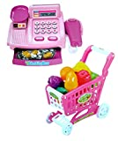 Toyshine Supermarket Shopping Cash Register Play Set, with Shopping Cart Barcode Scanner, Pink