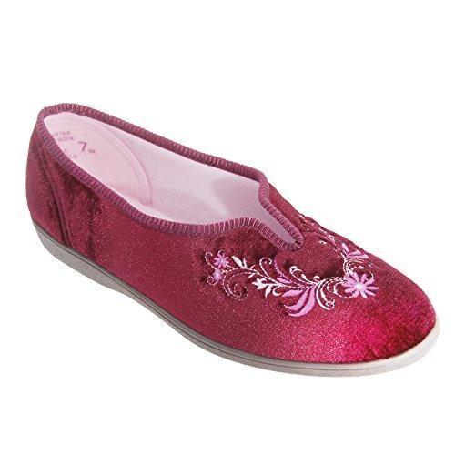 Sleepers - Pantofole con ricamo decorativo - Donna Vino