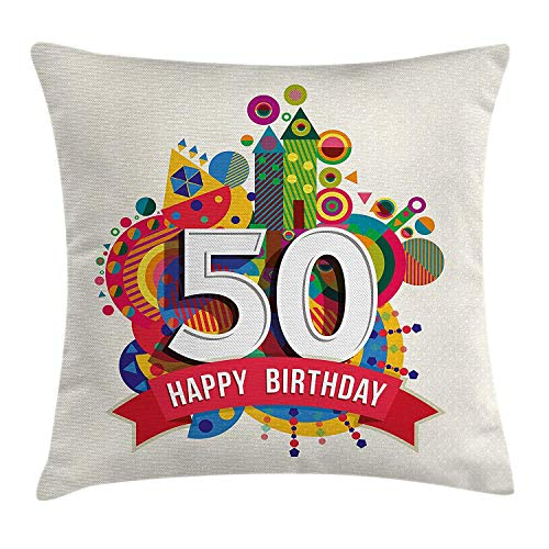VTXWL 50th Birthday Decorations Throw Pillow Cushion Cover, Cartoon Style Colorful Pop Poster Like Celebration Label Festive, Decorative Square Accent Pillow Case, 18 X 18 inches, Multicolor (Cover Pop-up-camper)