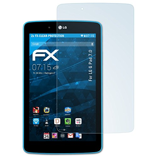 V400 Lg (atFoliX Displayschutzfolie für LG G Pad 7.0 Schutzfolie - 2 x FX-Clear kristallklare Folie)
