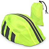 kwmobile Copricasco impermeabile fluo per bici - Protezione rifrangente anti-pioggia per casco da ciclismo ad alta visibilità - unisex giallo neon