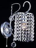Casa Padrino Barock Kristall Wandleuchte Nickel 12,5 x H 21,5 cm Antik Stil - Wandlampe Wand Beleuchtung
