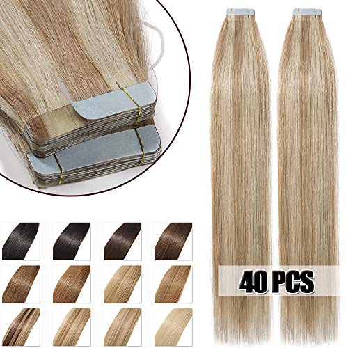 55cm extension adesive capelli veri biadesivo con meche 40 fasce 100g remy human hair tape in riutilizzabile seamless, #18/613 sabbia biondo/biondo chiarissimo
