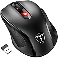 [Updated Version] Wireless Mouse, Patuoxun 2.4G USB Wireless Mice PC Laptop Computer Cordless Mouse with 6 Buttons, 2400 DPI 5 Adjustment Levels for Windows Mac Linux - Super Energy Saving, Black