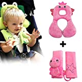 Inchant Baby Infant Car Seat Accessory - Soft Headrest Neck Support and Seat Belt Strap Cover For 1-4 Years old Toddlers - Comfortable and Reversible - Cartoon Pink Fairy