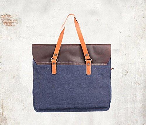 Herren Business casual canvas Tasche Computer Baodan Schulter Handtaschen deep blue