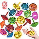 Trottola in Legno, 18 pezzi Mini Giroscopio in Legno Colorati Artigianali Set per Bambini Giocattolo Partito (6 Colore) Yidaxing