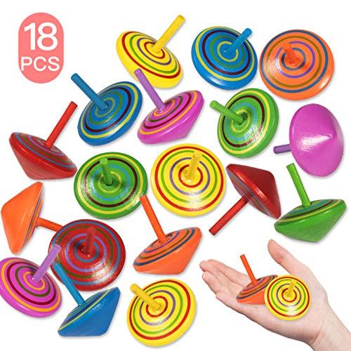 Yidaxing 18 Pezzi Trottola in Legno, Mini Giroscopio in Legno Colorato Creativo Giocattolo Non tossico Superficie Artigianali Set per Bambini Giocattolo Partito