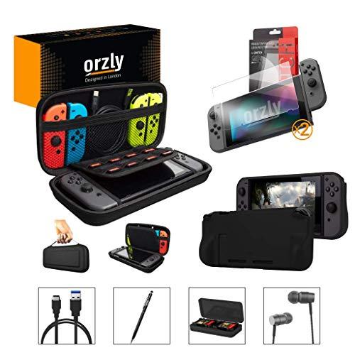 Nintendo Switch Accessoire, Orzly Ultimate Pack pour Nintendo Switch [Pack comprenant: Protecteurs d'écran en Verre Trempé, Câble Type C, Housse (Étui rigide), Coque Comfort Grip Case etc...] - NOIR