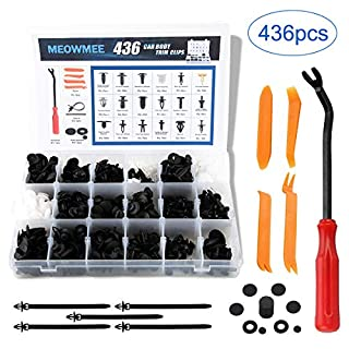 MEOWMEE - Car Body Trim Clips, 436 Pcs Universal 18 Sizes Auto Black Nylon Push Pin Rivets with Fastener Remover Professional Bumper Screw Snap Rivets Clip Set (Black)