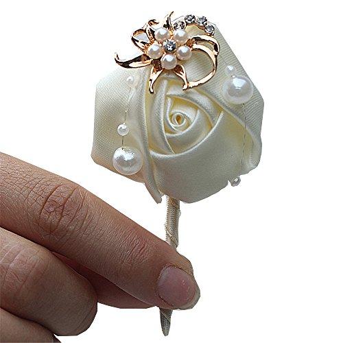 Fouriding Bräutigam Anstecknadel Boutonniere Boutonnièr Braut Blumen Corsage Brosche Hochzeitsanstecker der Männer für Herren Hochzeit Anzug Bankett Partei