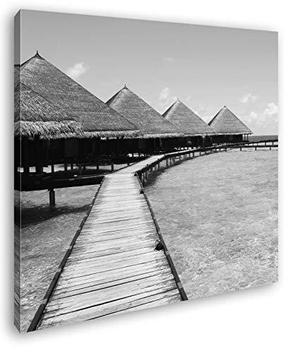 deyoli Paradis am Meer im Format: 60x60 Effekt: Schwarz&Weiß als Leinwandbild, Motiv auf Echtholzrahmen, Hochwertiger Digitaldruck mit Rahmen, Kein Poster oder Plakat