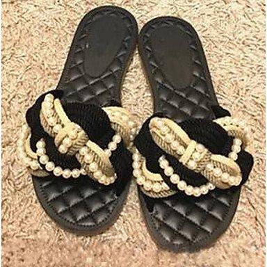 Rtry Women Flats Confort Summer Linen Comfort Comfort Flat Negro Us7.5 Black / Eu38 / Uk5.5 / Cn38 Us5 / Eu35 / Uk3 / Cn34