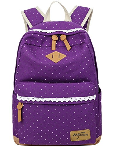 Damen Mädchen Rucksäcke Schulrucksäcke Canvas Schultaschen Polka Dots Sport Freizeitrucksack Lila