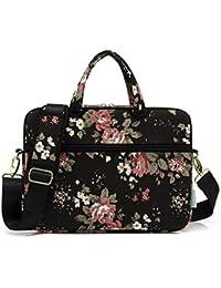 XHHWZB Custodia a tracolla per borsa a tracolla per laptop con motivo a  fiori in tessuto rosa per MacBook da 14-15.6… f0242a801d9