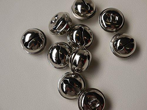 10x Clochettes 25mm Cloche Colliers de serrage avec oeillet - argent