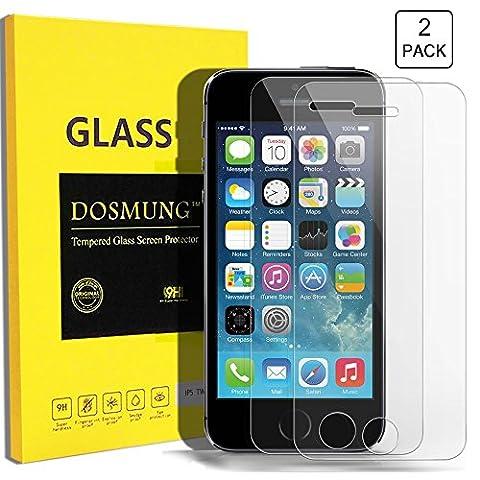Panzerglas Schutzfolie für iPhone 5S Se, DOSMUNG [2 Stück] Panzerglasfolie für iPhone 5S Se 5 5c, 9H Härtegrad Gehärtetem Glas Displayschutzfolie, Utra Klar -Schutz vor Wasser, Öl, Staub und Kratzern