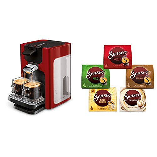 Philips Senseo HD7865/80 Quadrante Kaffeepadmaschine, XL-Wassertank, rot mit Senseo Vielfaltspack