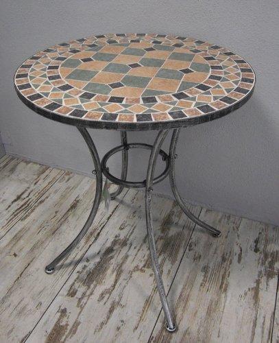Eisentisch Mosaiktisch Tisch *Florenz* Metall schwarz/silbergrau - D60cm