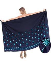 La Leela Sanft Glatt Sarong 78x41 Rayon Hand Pailletten Badeanzug Pareo Bikini Zoll