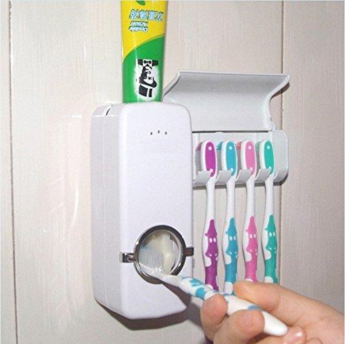 CAIDUD Auto Zahnpastaspender + 5 Zahnbürstenhalter Set Wandhalterung Rackständer 1