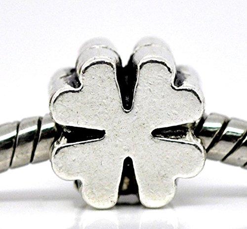 Sadingo Metallperle Kleeblatt vierblättrig, Glücksbringer, DIY Schmuck, Armband - 1 Stück - Silberfarben - 10 x 9 mm