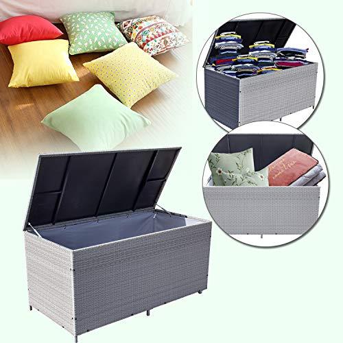 Wolketon® 950 L XXL Grau Garten Kissenbox 146 x 83 x 80 CM Auflagenbox Gartenbox Aufbewahrungsbox bis 150 kg belastbar