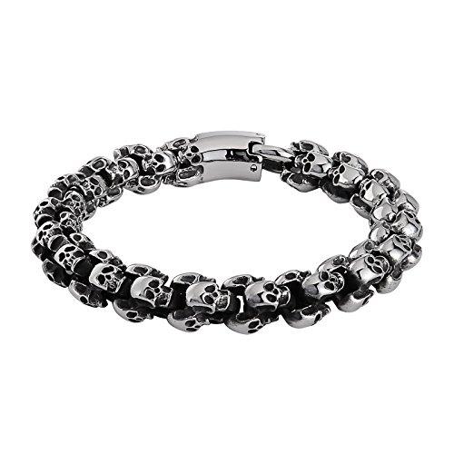 Beydodo Edelstahl Männer Armband Schädel Totenkopf Fahrradkette Herren Armband Silber 8.7IN