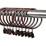 Ya Jin 20Vintage Metall Vorhang Ringe rostfrei Draperie Ring mit Haken Innen Durchmesser, metall, Red bronze, 50mm/1.97inch
