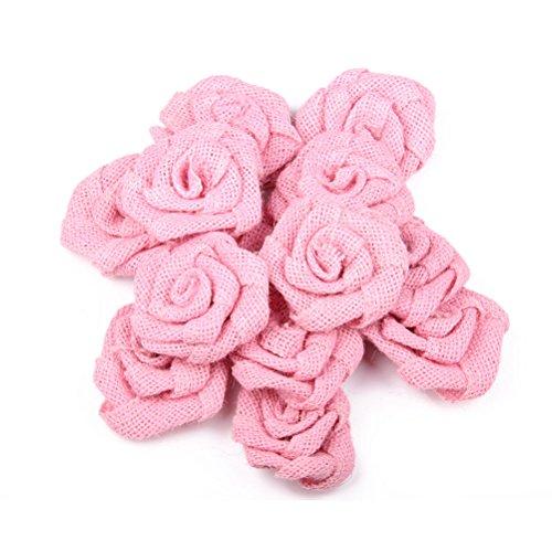 SUPVOX 6 stücke Jute Sackleinen Blumen DIY Hessian Rose Blumen Verzierungen für DIY Handwerk Nähen Stirnbänder Zubehör Baby Mädchen Haar Blume (Rosa) (Stirnbänder Handwerk Mädchen)