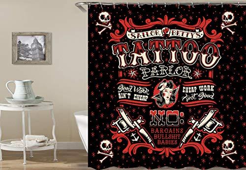 CaknQizawyy Cartoon rot gedruckt Piratenschädel Tattoo Tattoo auf schwarzem Hintergrund Wasserdicht und Umweltschutz HD abnehmbare Duschvorhang (Hintergrund Duschvorhang)