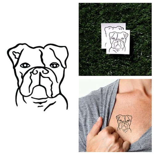 Tattify Tatouages Temporaires Bulldog - Attention (Set de 2)