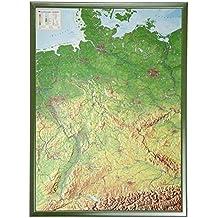 Deutschland mit Rahmen 1:1.2MIO: Reliefkarte von Deutschland mit grünfarbenen Holzrahmen