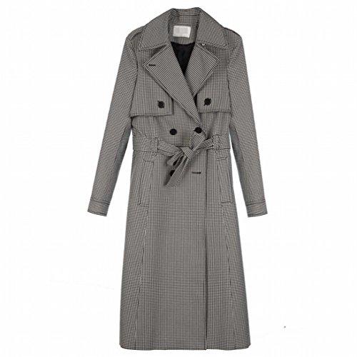Windjacke Weiblich Herbst und Winter in Der Langen Absatz Gitter Mantel Zweireihig Jacke,Gitterfarbe,L (Der Joker Weibliche Halloween Kostüm)