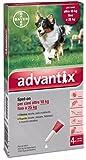 Advantix ® Spot On per cani oltre 10 Kg fino a 25 Kg - 4 pipette da 2.5 ml - Antiparassitario per Zecche Pulci e Pidocchi